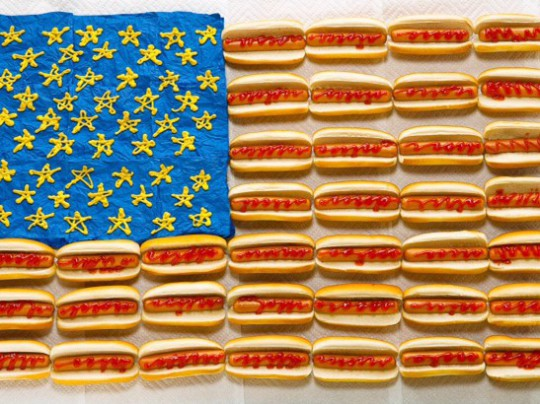 American flag made out of hot dogs