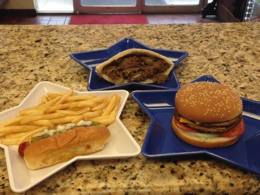 Burger, pita and hot dog